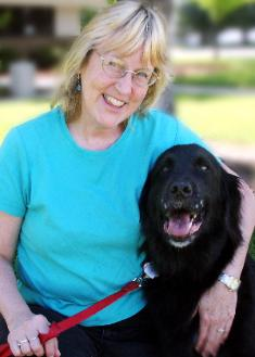 Cherie and her beloved, well-trained dog Bear after passing Delta Pet Partners evaluation